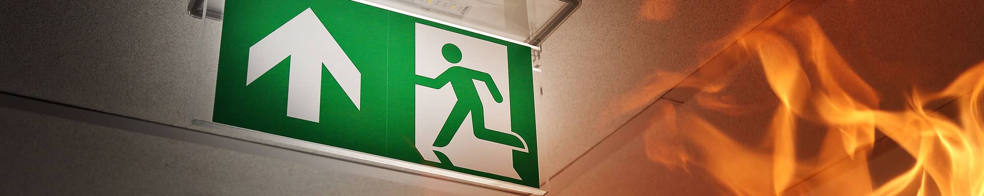 Fire exit signage at Chester business park based company
